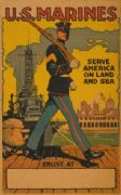 "Vintage U.S Marines ""Serve America On Land And Sea"" Enlisting Poster."